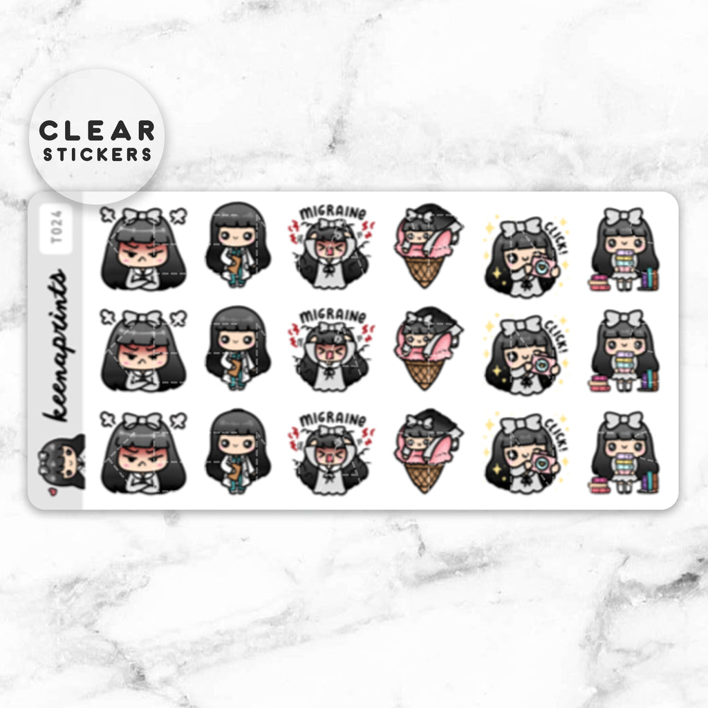 LOLA SAMPLER 8 CLEAR STICKERS - T024