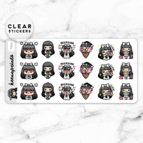 KAWAII DREAMS LOLITA WASHI CLEAR STICKERS - W006