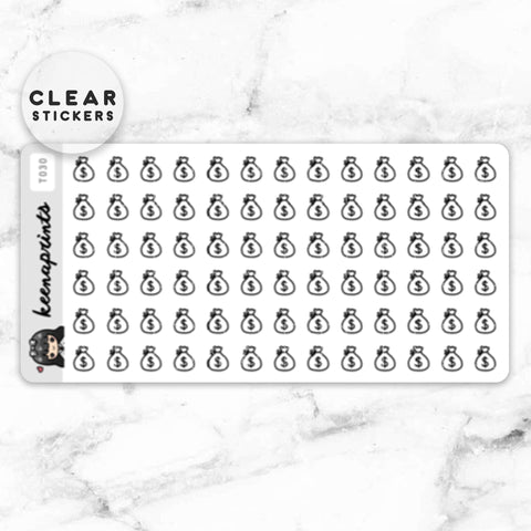 DIGITAL NUMBERS CLEAR STICKERS DAILY LARGE - T053