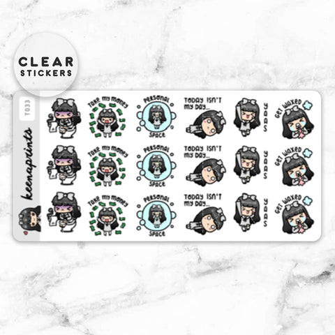 CALLIGRAPHY MONTHS LABEL CLEAR STICKERS - T069