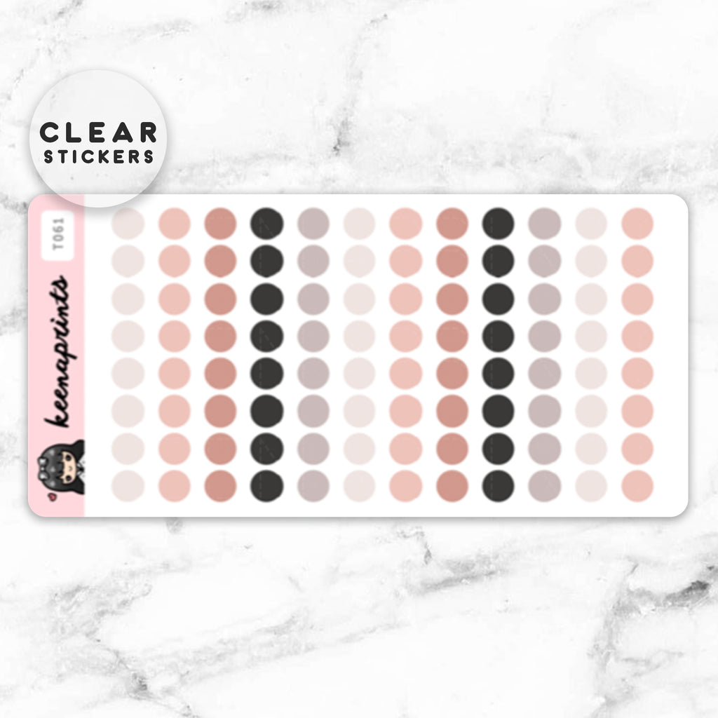 NEUTRAL DOTS CLEAR STICKERS - T061