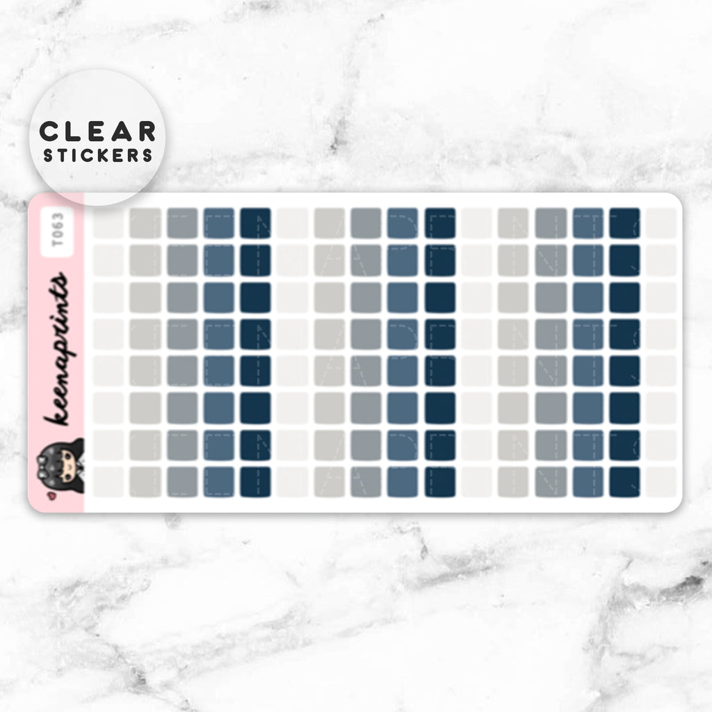 NAVY SQUARES LABEL CLEAR STICKERS - T063