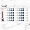 NAVY HEART CLEAR STICKERS - T071