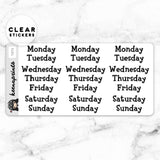 ANIMAL CROSSING WEEKDAYS LABEL CLEAR STICKERS - T072