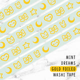 [DISCONTINUED] MINT GOLD FOILED DREAMS WASHI TAPE - WT023