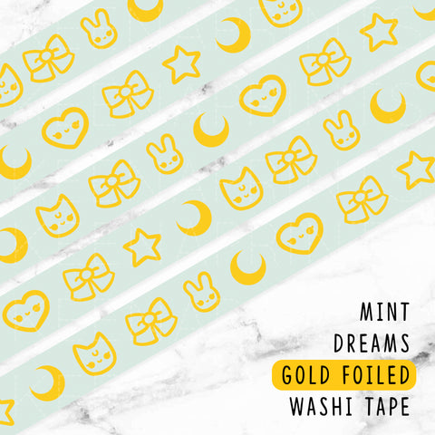 SWEET LOLITA DREAMS GOLD FOILED SLIM WASHI TAPE 8mm - WT033