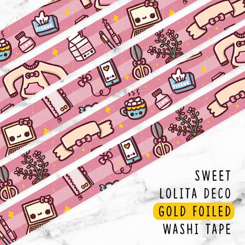 BLACK NIGHT & DAY GOLD FOILED DREAMS WASHI TAPE - WT019