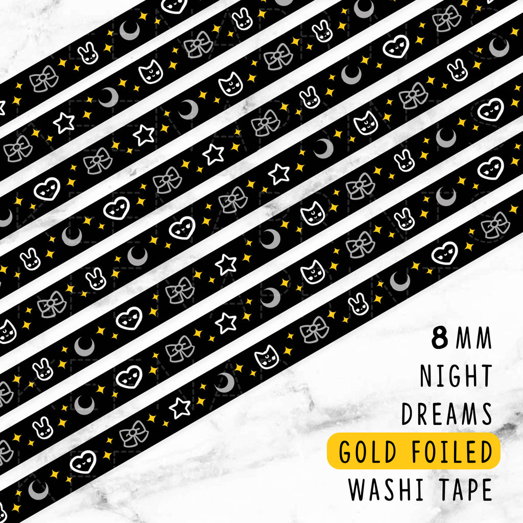 NIGHT DREAMS GOLD FOILED SLIM WASHI TAPE 8mm - WT039