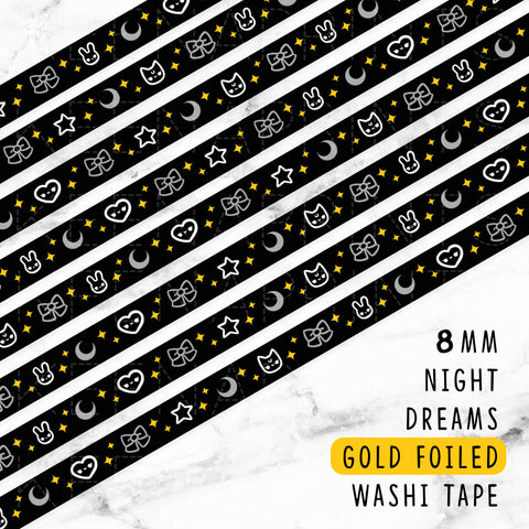 BLACK NIGHT & DAY SILVER FOILED DREAMS WASHI TAPE - WT058