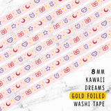 KAWAII DREAMS LOLITA DREAMS GOLD FOILED SLIM WASHI TAPE 8mm - WT044