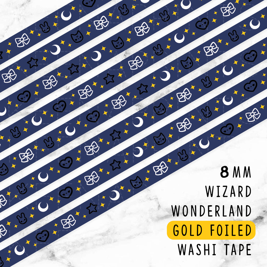 BLUE WIZARD WONDERLAND DREAMS GOLD FOILED SLIM WASHI TAPE 8mm - WT046