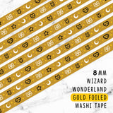 YELLOW WIZARD WONDERLAND DREAMS GOLD FOILED SLIM WASHI TAPE 8mm - WT047