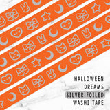 [DISCONTINUED] ORANGE HALLOWEEN SILVER FOILED DREAMS WASHI TAPE - WT052