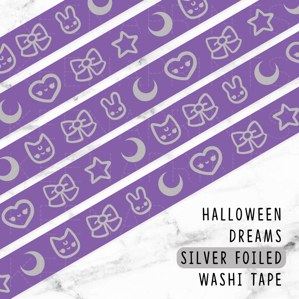 [DISCONTINUED] PURPLE HALLOWEEN SILVER FOILED DREAMS WASHI TAPE - WT053