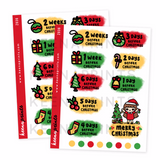 CHRISTMAS COUNTDOWN STICKERS KEENACHI Z036 - SET OF 18 - KeenaPrints planner stickers bullet journal diary sticker emoji stationery kawaii cute creative planner