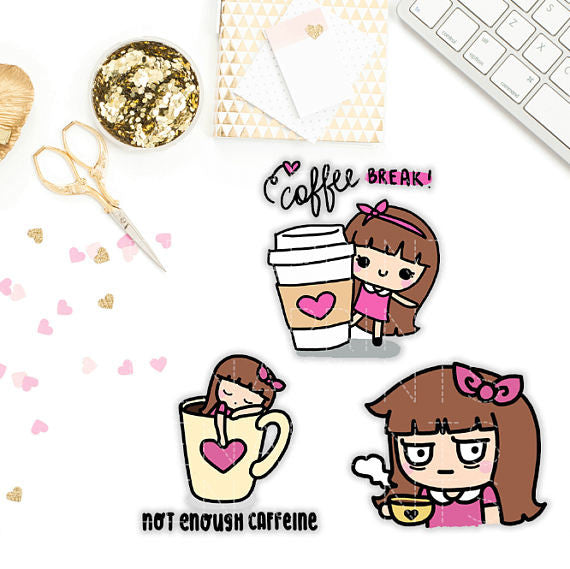 KEENACHI COFFEE TIME PLANNER STICKERS Z072 - SET OF 30