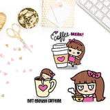 KEENACHI COFFEE TIME PLANNER STICKERS Z072 - SET OF 30 - KeenaPrints planner stickers bullet journal diary sticker emoji stationery kawaii cute creative planner