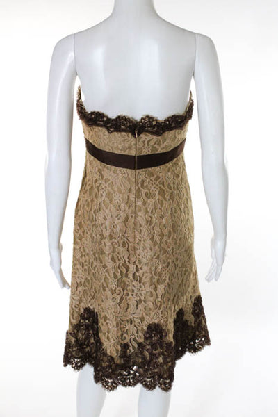 Badgley Mischka Brown Tan Strapless Ruched Lace Dress Size 2