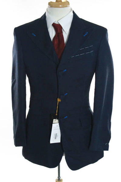 NWT Mens Billionaire Couture Blue Cotton Triple Breasted Pointed Lapel Blazer 38