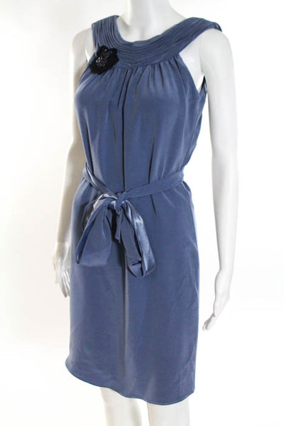 Vera Wang Lavender Label Blue Sleeveless Scoop Neck Belted A Line Dress Size 2