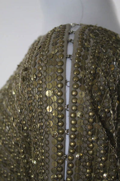 KaufmanFranco Metallic Gold Silk Beaded One Shoulder Dress Size 4 With Dust Bag