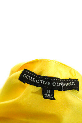 Collective Concepts Yellow Silk Spaghetti Strap Ruffle Front Blouse Size M