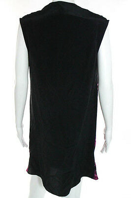 Aaron Ashe Pink Black Cap Sleeve Cowl Neck Dress Estimated Size M