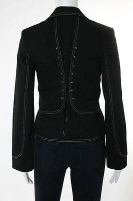 Cynthia Steffe Black Collared Long Sleeve Jacket Size Extra Small