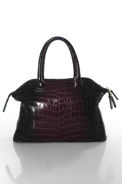 ZAGLIANI Deep Purple Crocodoile Ombre Tomodachi Small Bowling Bag