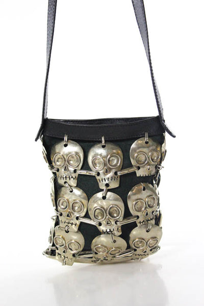 Perez Sanz Black Leather Sterling Silver Skulls Zipper Top Shoulder Handbag New