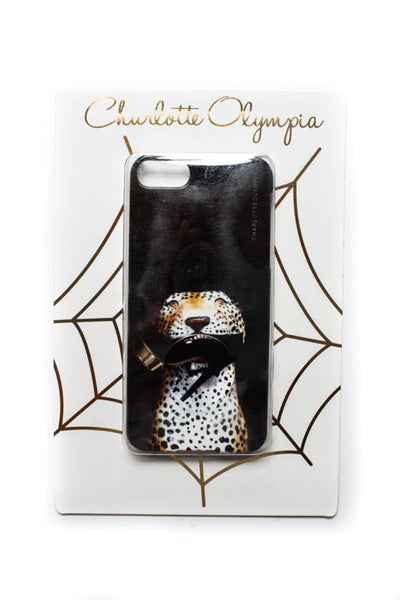 Charlotte Olympia Black Shoe Leopard Phone Case $72 NEW