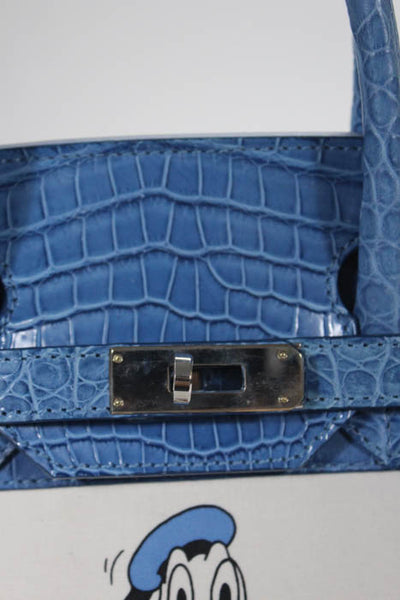 Rene Mancini Blue Crocodile Double Handle Donald Duck Satchel Handbag