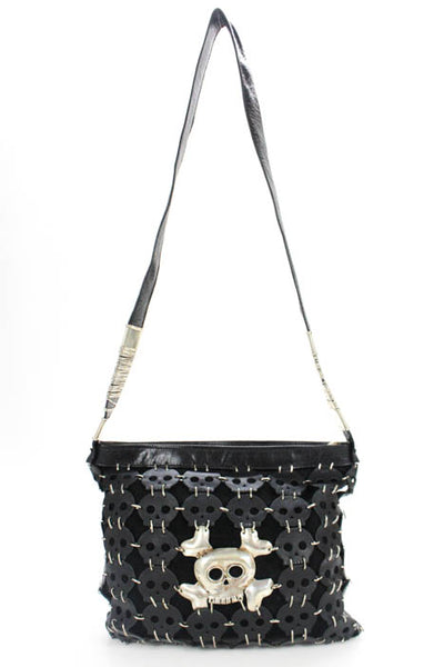 Perez Sans Black Suede Leather Sterling Silver Skull Applique Crossbody Handbag