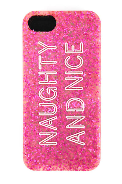Kate Spade Pink Glittered Nice Naughty IPhone 5 Phone Case $35 NEW IN BOX