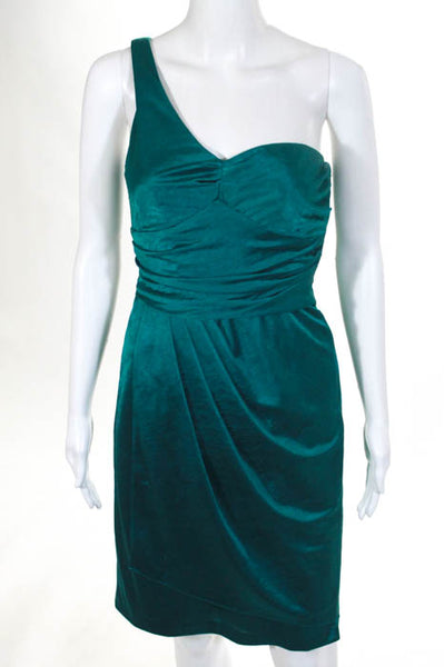 Suzi Chin for Maggy Boutique Teal One Shoulder Draped Skirt Dress Size 4