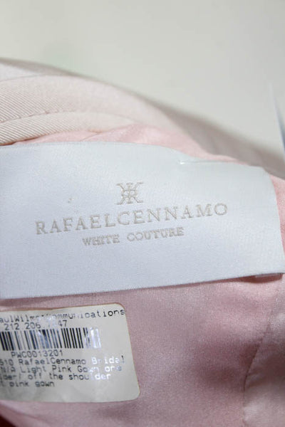 Rafael Cennamo White Couture  Light Pink Off Shoulder Velvet Contrast Slit Front