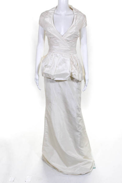 Rafael Cennamo White Couture  Ivory Short Sleeve V-Neck Beaded Back Bridal Gown