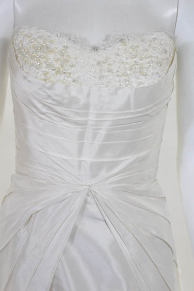 Rafael Cennamo White Couture  Ivory Silk Strapless Beaded Pleated Bridal Gown Si