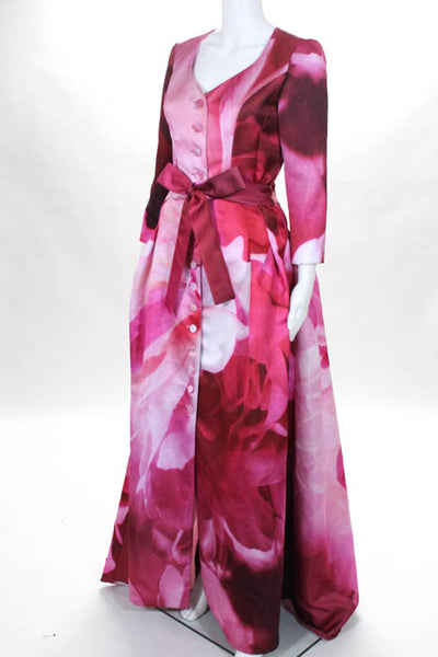 Carolina Herrera Pink Floral Printed Belted Button Front Long Sleeve Gown Size 4