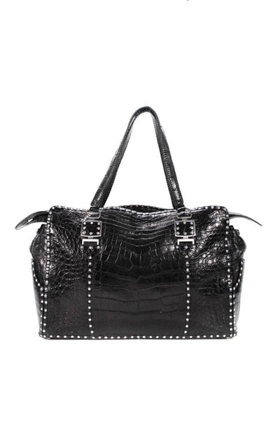 Korokum Black Alhena Alligator Large Crystal Tote Handbag EVHB