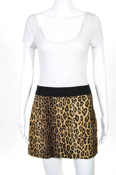Milly Brown Cotton Textured Animal Print Mini Skirt Size 8