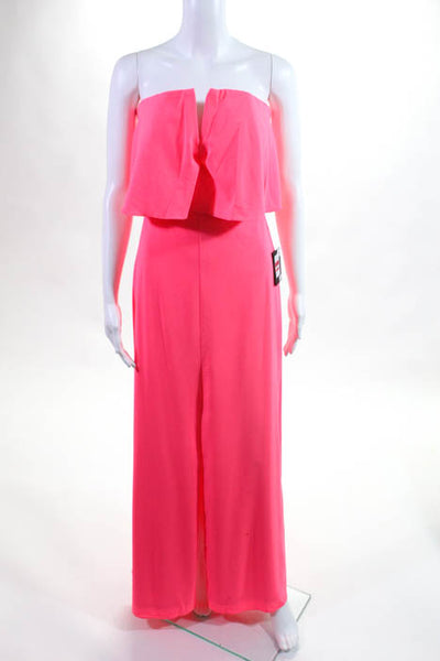 Marina Neon Coral Ruffle Strapless Full Length Dress Size 4 NEW $189