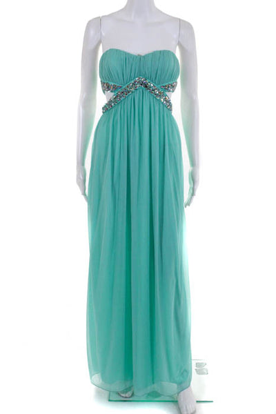 Trixxi Mint Rhinestone Waist Cut Out Detail Sweetheart Gown Size 3 NEW $109