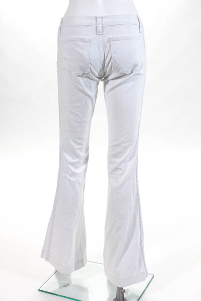 Anlo White Cotton Braided Sides Low Rise Flare Leg Jeans Size 30 NEW