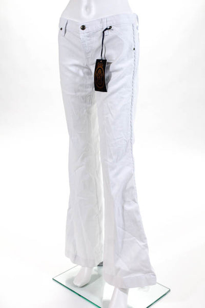 Anlo White Cotton Embroidered Trim Wide Leg Jeans Size 29 New