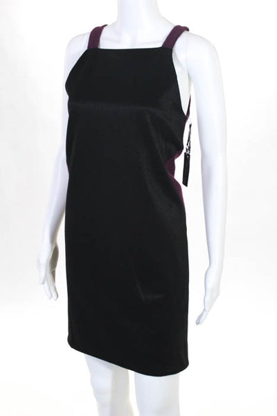 Whitney Eve Black Purple Color Blocked Shift Dress Size Small New