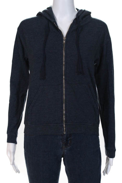 At Piece Navy Blue Cotton Hooded Full Zip Sweatshirt Size Small