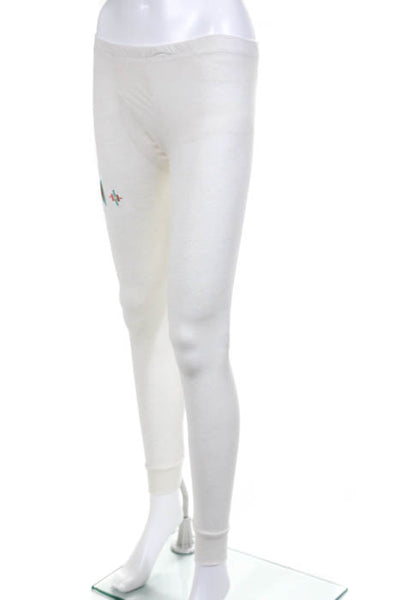 AsIs Los Angeles White NEW Pull On Embroidered Trim Leggings Size Small