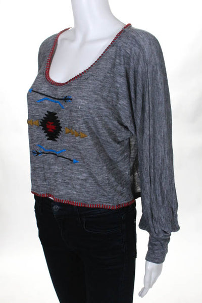 As Is Gray Red Scoop Neck Embroidered Cropped Sweater Top Size Small New