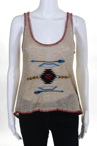 As Is Beige Red Blue Scoop Neck Embroidered Sleeveless Tank Top Size Small New
